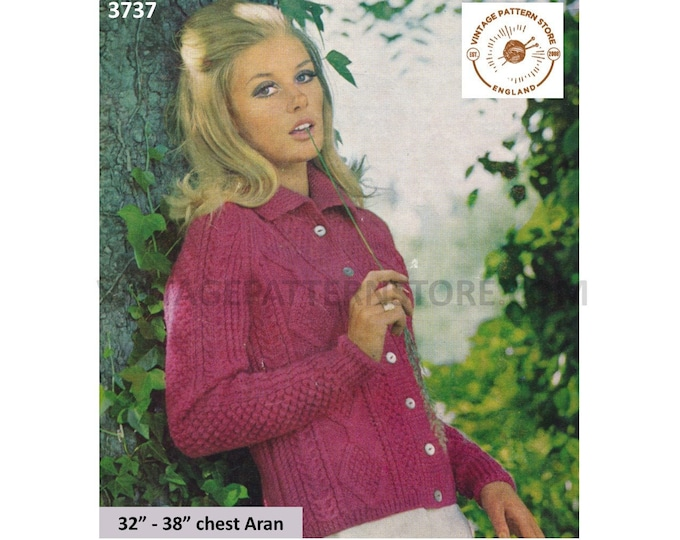 """Ladies Womens 60s vintage round neck collared cable cabled raglan aran cardigan jacket pdf knitting pattern 32"""" to 38"""" Instant download 3737"""