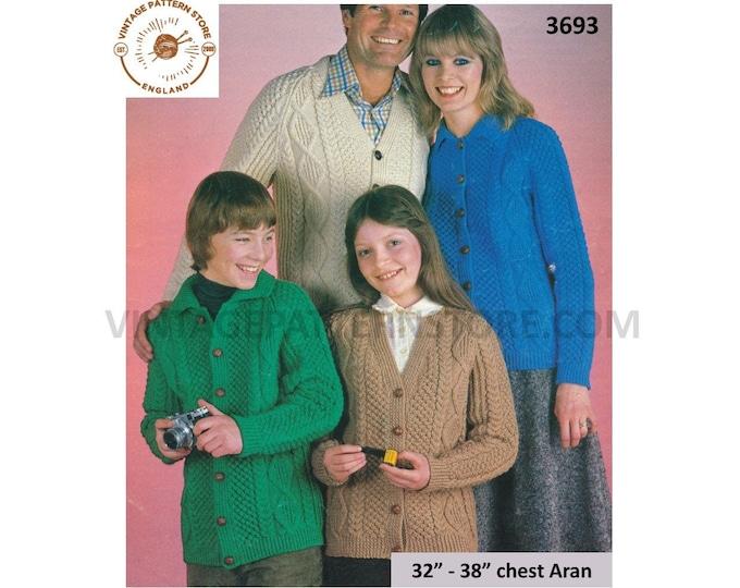 "Family Ladies Womens Mens Girls Boys V neck or collared cable & texture raglan aran cardigan pdf knitting pattern 32"" to 38"" Download 3693"