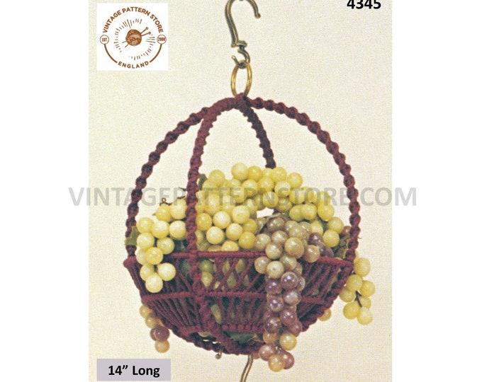 "70s vintage macrame ring hanging fruit bowl or plant hanger pdf macrame pattern 14"" long Instant PDF Download 4345"
