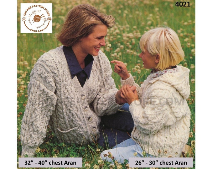 """Ladies Womens Girls 90s V neck cable cabled drop shoulder dolman aran cardigan & hoodie jacket pdf knitting pattern 26"""" to 40"""" Download 4021"""