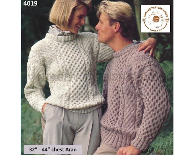 "Ladies Womens Mens 90s crew neck honeycomb cable drop shoulder raglan aran sweater jumper pdf knitting pattern 32"" to 44"" PDF download 4019"
