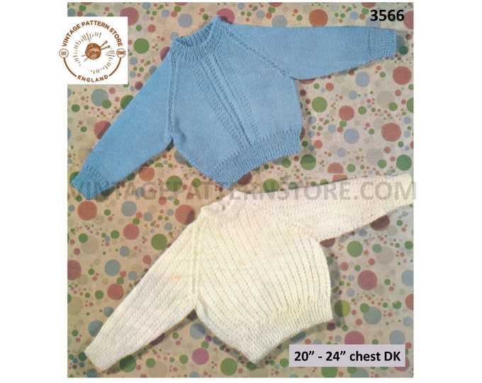 "Baby Babies Toddlers simple & easy to knit round neck raglan DK sweater jumper pullover pdf knitting pattern 20"" to 24"" chest Download 3566"