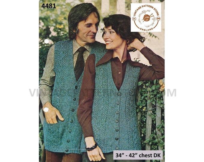 """Ladies Womens Mens 70s vintage V neck cable cabled long line DK waistcoat sleeveless cardigan pdf knitting pattern 34"""" to 42"""" Download 4481"""