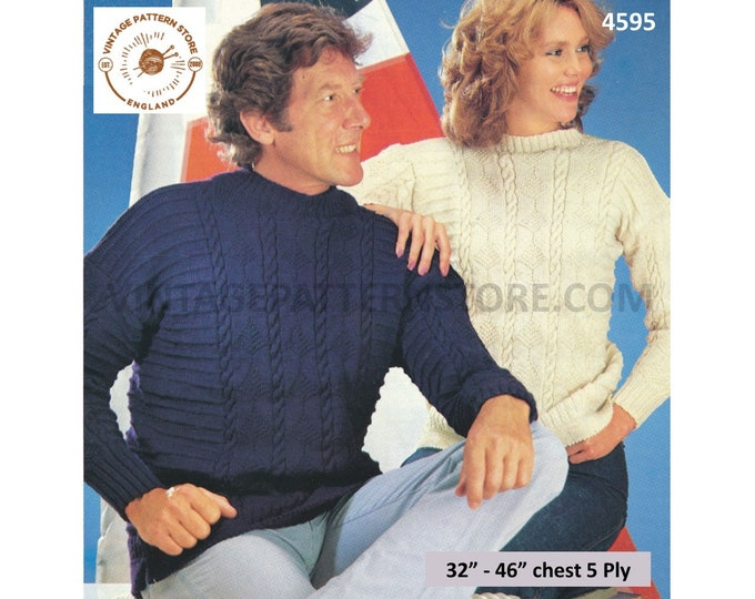 """Ladies Womens Mens 80s vintage 5 ply crew neck cable cabled and textured raglan sweater jumper pdf knitting pattern 32"""" to 46"""" Download 4595"""