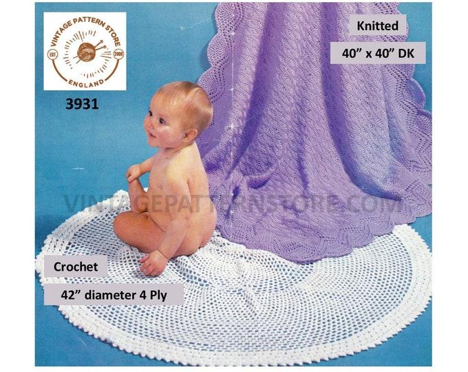Baby Babies 70s vintage DK square lace edge shawl pdf knitting pattern & 4 ply circular round lacy shawl pdf crochet pattern Download 3931