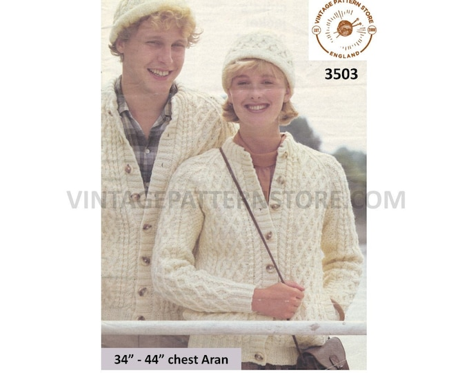 "Ladies Womens Mens 90s crew neck cable cabled raglan aran jacket cardigan and hat pdf knitting pattern 34"" to 44"" Instant PDF download 3503"