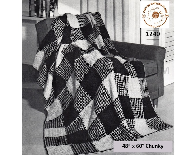 "70s vintage easy to knit gingham check chunky knit afghan throw pdf knitting pattern 48"" x 60"" Instant PDF download 1240"