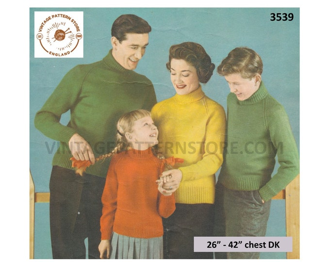 """Womens Mens Boys Girls 50s plain & simple easy to knit DK polo neck raglan sweater jumper pdf knitting pattern 26"""" to 42"""" Download 3539"""