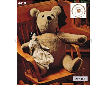 "70s vintage classic cuddly toy teddy bear with moveable arms and legs pdf sewing pattern 21"" long or Makes to desired size PDF Download 4410"