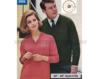 """Ladies Womens Mens 70s plain and simple easy to knit 4 ply V neck raglan sweater jumper pdf knitting pattern 34"""" to 44"""" PDF download 3806"""