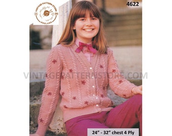 """Girls 80s vintage 4 ply V neck twist cable & texture panel floral embroidered raglan cardigan pdf knitting pattern 24"""" to 32"""" Download 4622"""