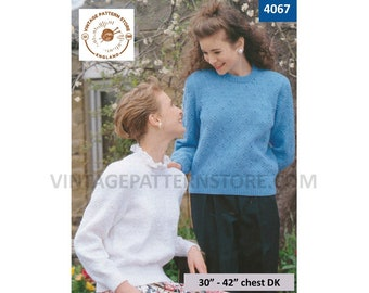 """Ladies Womens 90s frill collar or round neck textured raglan DK sweater jumper pullover pdf knitting pattern 30"""" to 42"""" chest download 4067"""