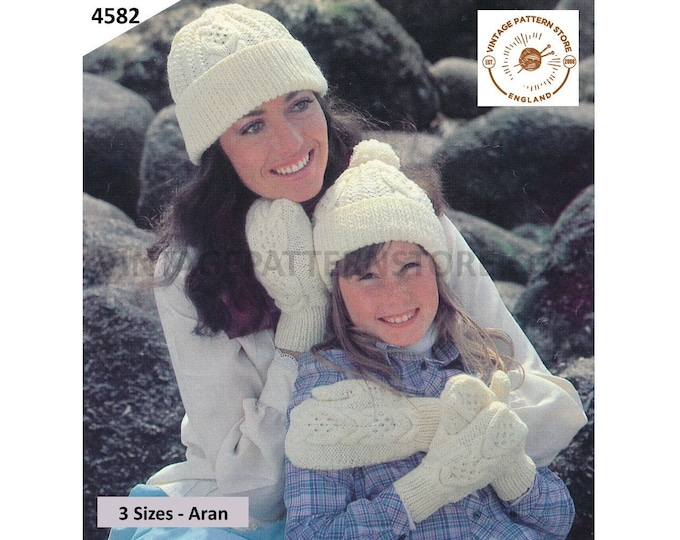 Mother and Daughter Womens Girls 80s vintage classic style cable cabled aran toque hat and mittens pdf knitting pattern PDF Download 4582