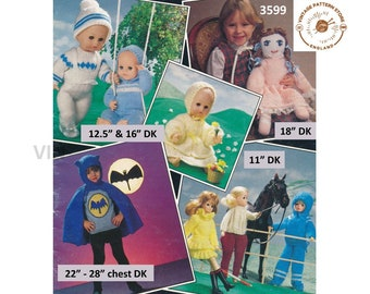"""80s vintage DK 12"""" 16"""" Baby doll clothes 11"""" fashion Barbie Sindy doll clothes & toy doll pdf knitting pattern Instant PDF download 3599"""
