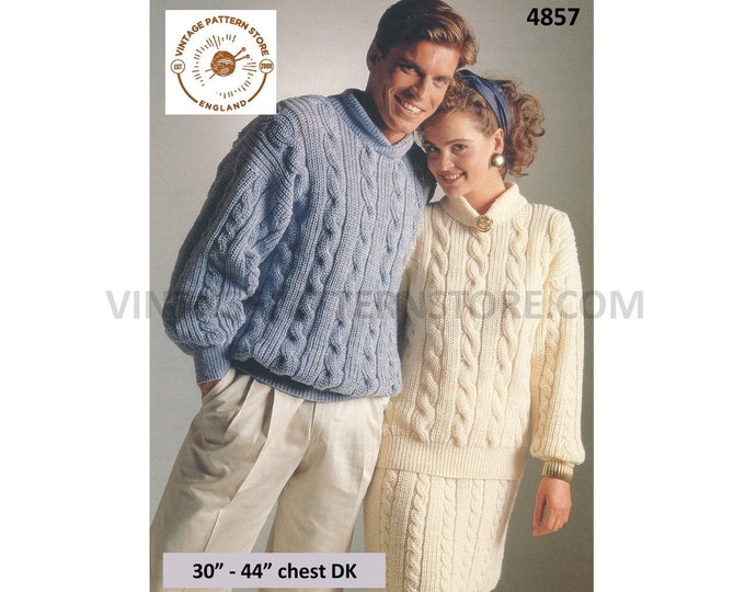 """Womens Mens Mans 90s DK round neck drop shoulder cable cabled dolman sweater jumper and skirt pdf knitting pattern 30"""" to 44"""" Download 4857"""