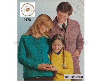 """Ladies Womens Mens Boys Girls 70s Family easy to knit collared worsted raglan cardigan jacket pdf knitting pattern 28"""" to 44"""" Download 4473"""