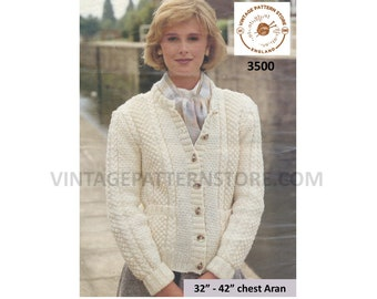 "Ladies Womens 90s crew neck cabled cable & texture panel raglan aran cardigan jacket pdf knitting pattern 32"" to 42"" Instant Download 3500"