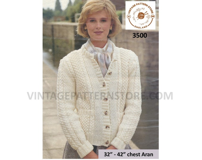 """Ladies Womens 90s crew neck cabled cable & texture panel raglan aran cardigan jacket pdf knitting pattern 32"""" to 42"""" Instant Download 3500"""