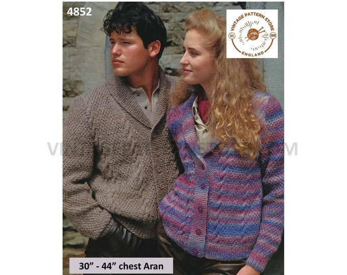 """Womens Ladies Mens Mans 90s V neck shawl collar twist cable cabled aran dolman cardigan jacket pdf knitting pattern 30"""" to 44"""" Download 4852"""