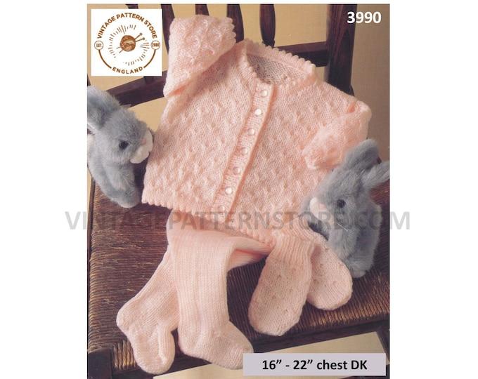 """Baby Babies 90s picot round neck texture raglan cardigan matinee coat jacket leggings mittens pdf knitting pattern 16"""" to 22"""" Download 3990"""