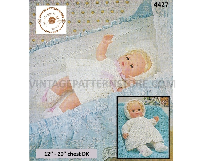 "80s vintage 12"" 14"" 16"" 18"" 20"" DK baby doll clothes pram set layette dress matinee coat bootees bonnet pdf knitting pattern Download 4427"