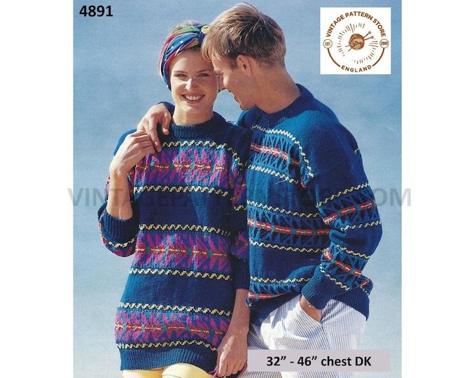 "Mens Womens Ladies 90s DK round neck fair isle banded drop shoulder dolman sweater jumper pdf knitting pattern 32"" to 46"" Download 4891"