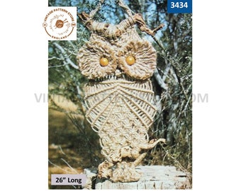 """PDF Macrame pattern, 70s Macrame owl pattern, 70s Macrame owl wall hanging pattern, Vintage macrame pattern - 26"""" long PDF download 3434"""
