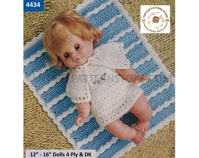 """80s vintage 12"""" 14"""" 16"""" 4 ply & DK baby dolls clothes lacy dress cape and pram cover cot blanket pdf crochet pattern Instant Download 4434"""