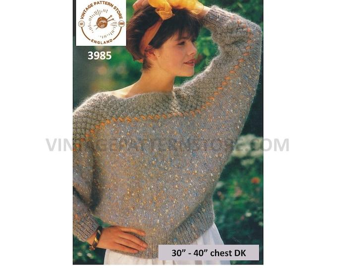 """Ladies Womens 90s DK slash neck textured saddle shoulder drop shoulder batwing sweater jumper pdf knitting pattern 30"""" to 40"""" Download 3985"""