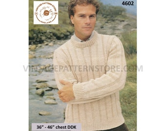 """Mens Mans quick and easy to knit DDK crew neck texture striped textured raglan sweater jumper pdf knitting pattern 36"""" to 46"""" Download 4602"""