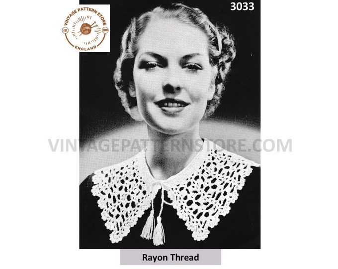 Ladies Womens 30s lacy tied dress collar pdf crochet pattern One Size Instant PDF Download 3033