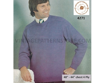 """Mens Mans 70s vintage 4 ply plain and simple easy to knit round neck raglan sweater jumper pdf knitting pattern 40"""" to 44"""" PDF Download 4271"""