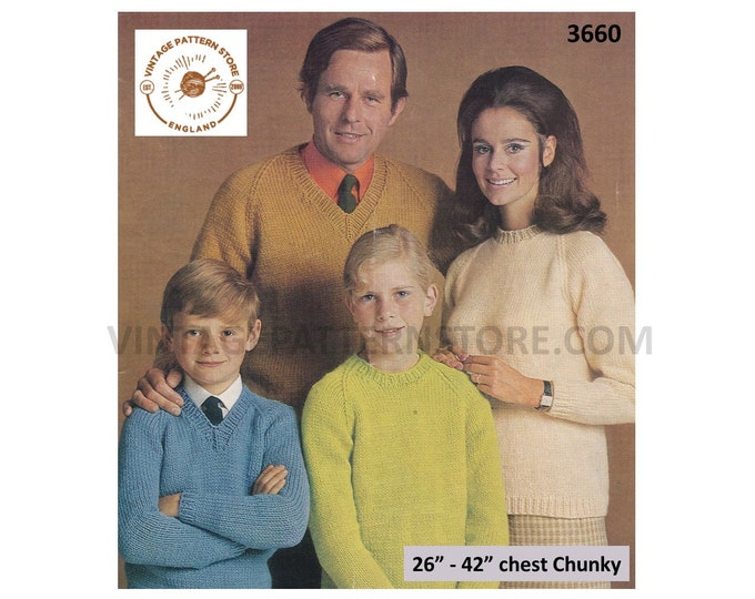 """Ladies Mens Boys Girls 60s Family easy to knit V round neck chunky knit raglan sweater jumper pdf knitting pattern 26"""" to 42"""" Download 3660"""