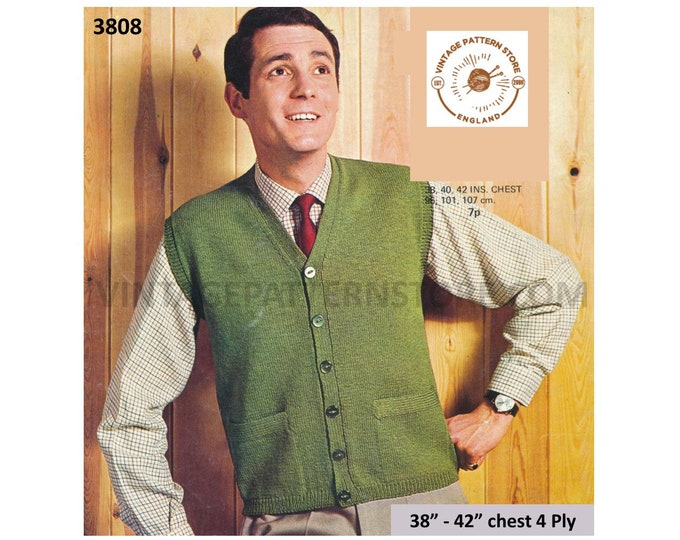 """Mens Mans 70s vintage plain and simple easy to knit 4 ply V neck waistcoat with pockets pdf knitting pattern 38"""" to 42"""" PDF download 3808"""