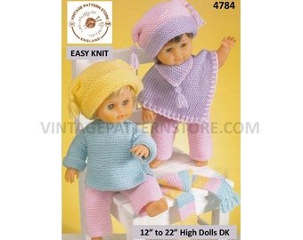 "12"" 14"" 15"" 16"" 18"" 19"" 20"" 22"" DK quick and easy to knit dolls clothes poncho trousers hat sweater scarf pdf knitting pattern Download 4784"