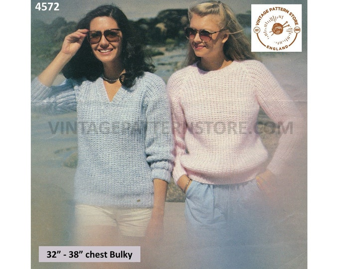 """Ladies Womens 80s beginners fun quick & easy to knit round V neck bulky raglan sweater jumper pdf knitting pattern 32"""" to 38"""" Download 4572"""