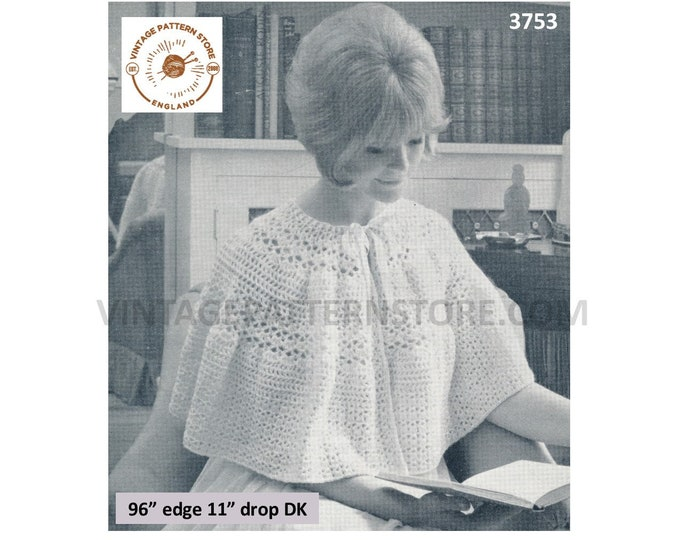 Ladies Womens 50s vintage One size fits all round neck ribbon tied lacy DK bed cape jacket pdf crochet pattern Instant PDF download 3753