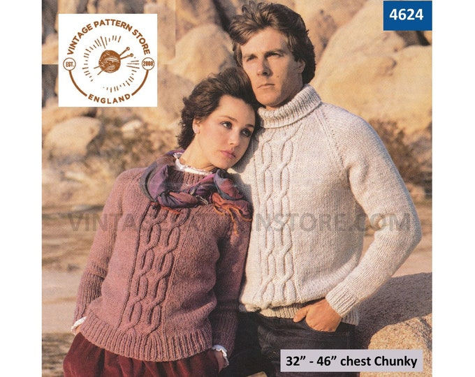 """Womens Mens 80s vintage chunky knit cabled cable panel crew polo neck raglan sweater jumper pdf knitting pattern 32"""" to 46"""" Download 4624"""