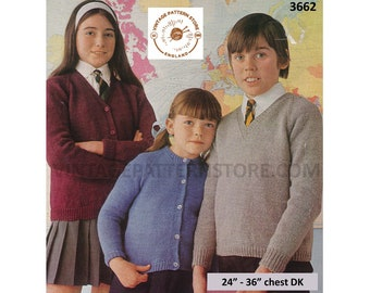 """Boys Girls 70s plain and simple easy to knit V or round neck raglan DK cardigan sweater jumper pdf knitting pattern 24"""" to 36"""" Download 3662"""