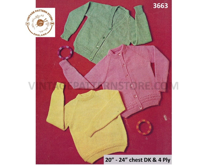"Baby Babies Toddlers plain and simple easy to knit DK 4 ply raglan cardigan sweater jumper pdf knitting pattern 20"" to 24"" PDF download 3663"