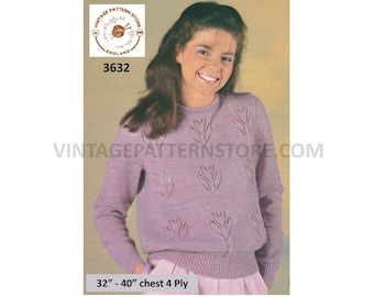 """Ladies Womens 80s 4 ply picot round neck floral eyelet lace lacy raglan sweater jumper pdf knitting pattern 32"""" to 40"""" Download 3632"""
