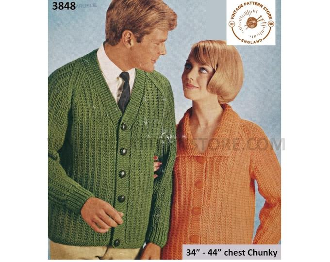 "Womens Ladies Mens 70s vintage easy to knit V neck rib ribbed chunky knit raglan cardigan pdf knitting pattern 34"" to 44"" PDF download 3848"