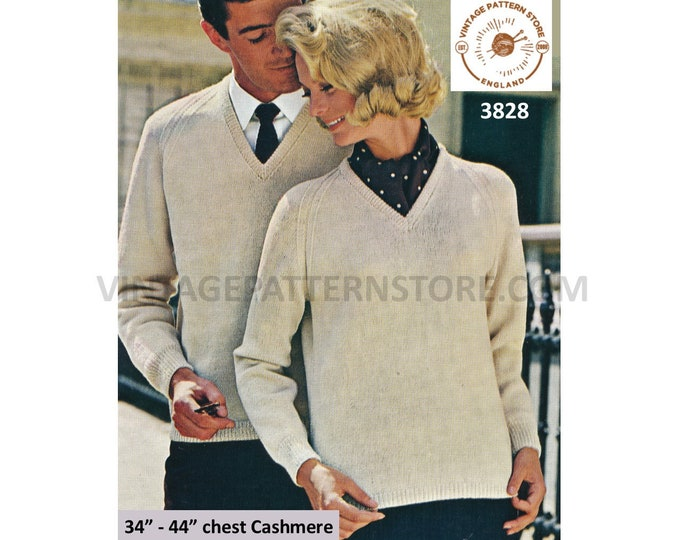 """Ladies Womens Mens 70s vintage quick and easy to knit V neck cashmere raglan sweater jumper pdf knitting pattern 34"""" to 44"""" Download 3828"""