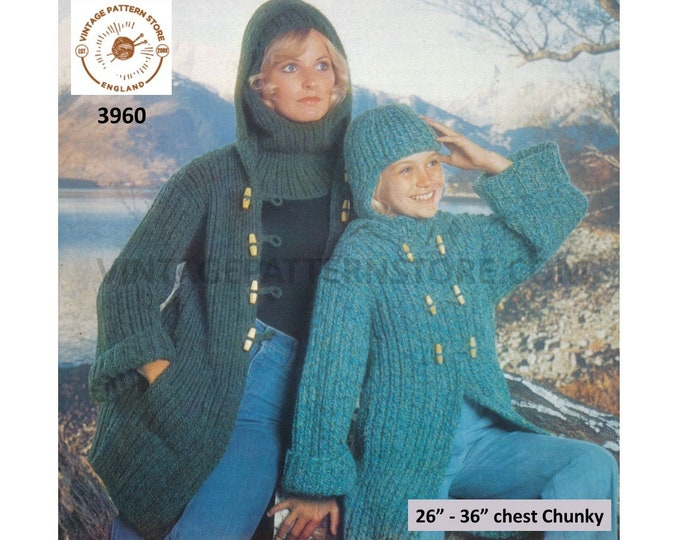 """Ladies Womens Girls 70s vintage chunky knit rib ribbed duffle coat with hood and balaclava pdf knitting pattern 26"""" to 36"""" PDF download 3960"""