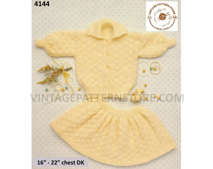"""Baby Babies 90s collared lattice textured raglan DK cardigan and skirt pdf knitting pattern 16"""" to 22"""" chest Instant PDF Download 4144"""