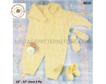 """Baby Babies 90s 4 ply cable and lace lacy round neck romper playsuit mittens & booties pdf knitting pattern 18"""" to 22"""" PDF download 4010"""