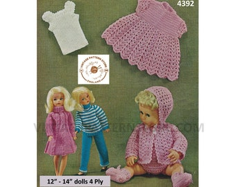 """70s 4 ply 12"""" fashion doll Barbie dress sweater trousers & 14"""" baby doll clothes layette pram set PDF knitting crochet pattern Download 4392"""