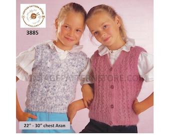 "Girls 90s easy to knit V neck aran waistcoat & sleeveless slipover sweater vest pdf knitting pattern 22"" to 30"" chest PDF download 3885"