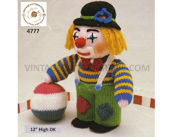 """80s vintage fun and easy to knit oddments cuddly toy clown pdf knitting pattern 12"""" High Instant PDF Download 4777"""