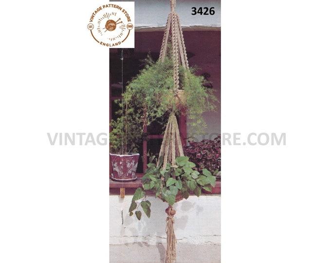 "70s vintage double macrame plant hanger pdf macrame pattern, 70s macrame retro Indoor garden gardening 7"" feet Long Instant download 3426"